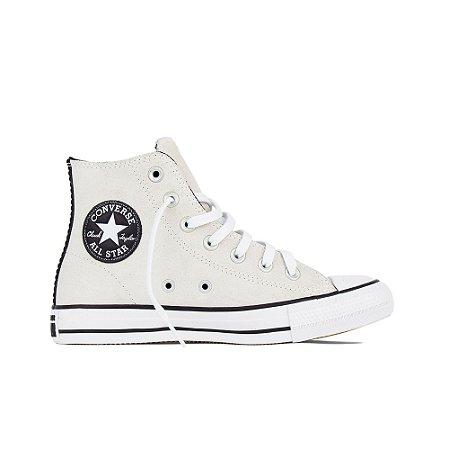 Tênis Converse All Star Chuck Taylor Cano Alto Couro Camurça Hi - Branco Velho
