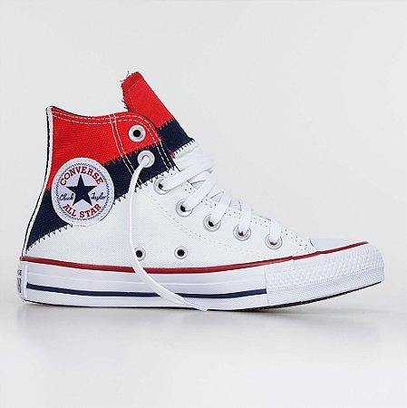 Tênis Converse All Star Chuck Taylor Hi Tri-Slipt - Vermelho/ Azul/ Branco