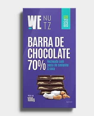 Barra de Chocolate 70% Recheada 100g - We Nutz