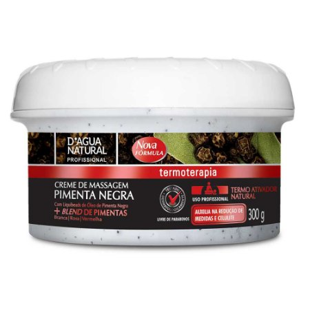 Creme de Massagem Pimenta Negra 300g D'Agua Natural
