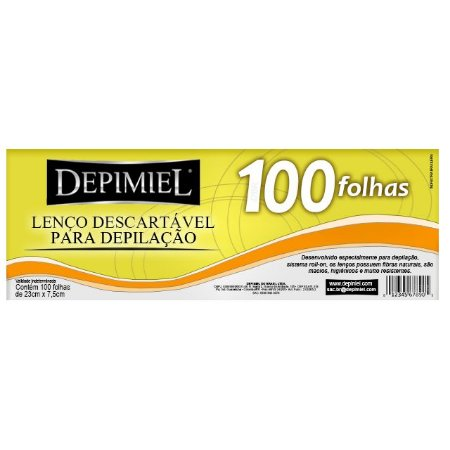 Lenço Descartável Para Depilação Com 100 Unidades Depimiel