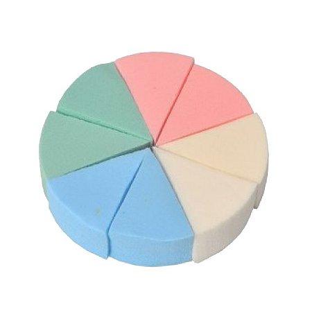 Esponja Colorida Pizza Limpeza Facial Com 8 Unidades Santa Clara