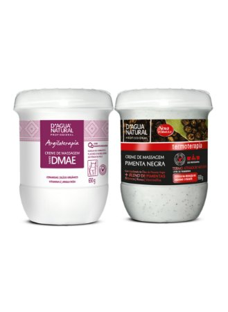 Kit Creme Pimenta Negra + Creme Nano DMAE 650g cada D'Agua Natural