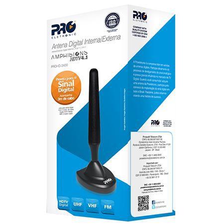 ANTENA DIGITAL HDTV/ VHF/ UHF 4DBI C/ BASE ELECTRONIC MAGNETIC PROHD-2400 -