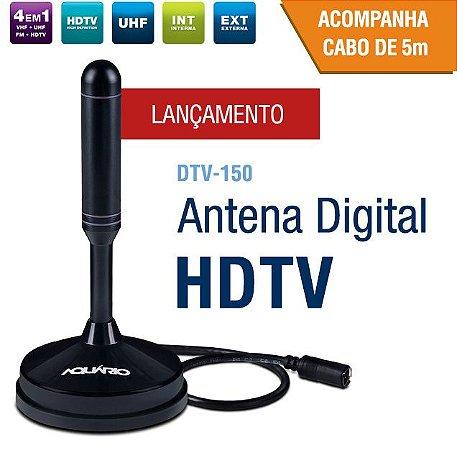Antena Digital HDTV Interna e Externa Aquário DTV-150