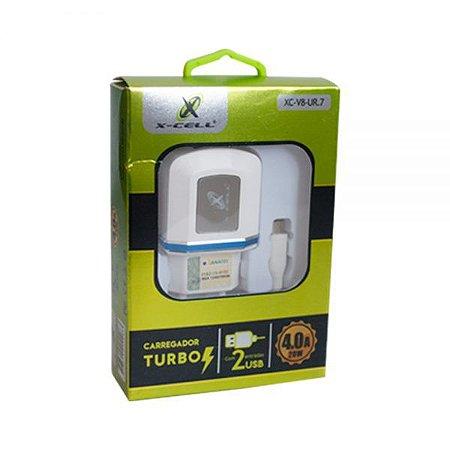 CARREGADOR TURBO 4.0A 20w V8 X-CELL 2USB + Cabo V8