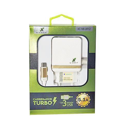 CARREGADOR TURBO 5.1A COM 3 ENTRADA USB + CABO MICRO USB 1,5M BRANCO PARA SMARTPHONE - XC-V8-UR-12