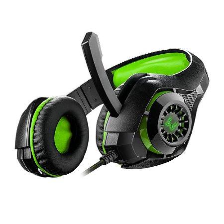 Fone Headset Warrior Rama Gamer usb+p3+p2 green led - ph299