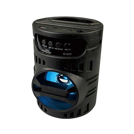 CAIXA DE SOM GRASEP D-S23 PRETA BLUETOOTH - USB - CARTÃO SD - RÁDIO FM - 10W RMS