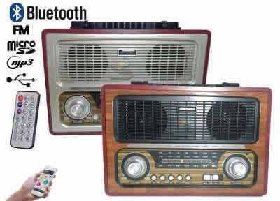 Rádio caixa de som retro bluetooth am fm usb cartão sd