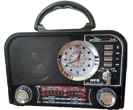 CAIXA DE SOM GRASEP MODELO D-F8 8W RMS C/ BLUETOOTH E RÁDIO AM / FM / SW INTEGRADO