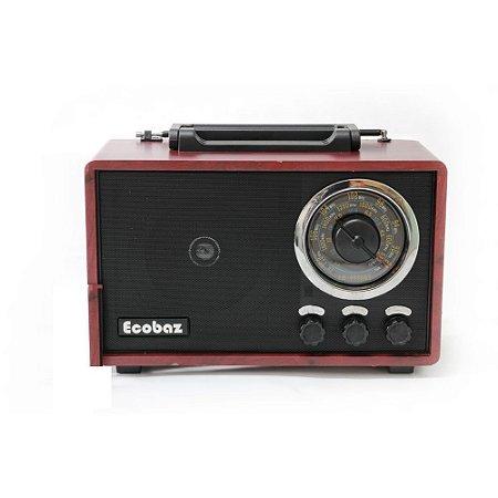 CAIXA DE SOM ECOBAZ MODELO RETRÔ EB-6866BT BLUETOOTH - FM INTEGRADO - USB - PENDRIVE - 15W RMS