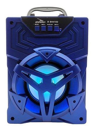 CAIXA DE SOM GRASEP MODELO D-BH4102 BLUETOOTH - SOM HI-FI DE QUALIDADE - RÁDIO FM INTEGRADO - EM MADEIRA MDF - DISPLAY LED - 10W RMS