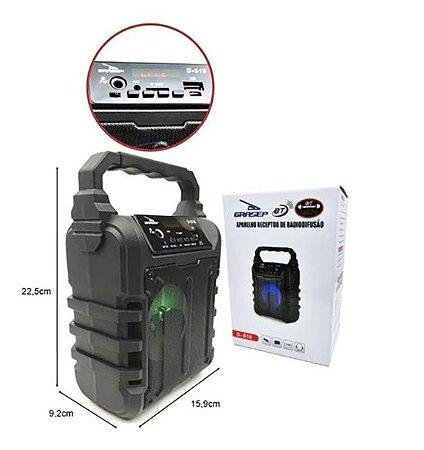 CAIXA DE SOM GRASEP MODELO D-S18 BLUETOOTH - ENTRADA USB - PENDRIVE - MICRO SD - MICROFONE - RÁDIO FM INTEGRADO - 12W RMS