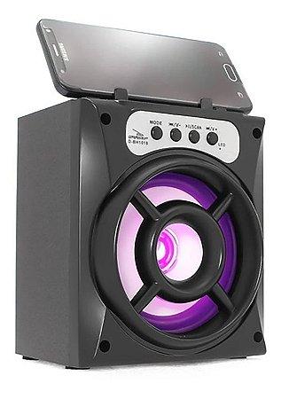 CAIXA DE SOM GRASEP MODELO D-BH1018 BLUETOOTH - RÁDIO FM INTEGRADO - SOM HIFI - DISPLAY LED - ENTRADA USB E MICRO SD - 10W RMS