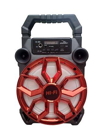 CAIXA DE SOM GRASEP BLUETOOTH MODELO D-S8 - FM INTEGRADO - ENTRADA USB E MICRO SD - SOM HI-FI - DISPLAY LED - 20W RMS