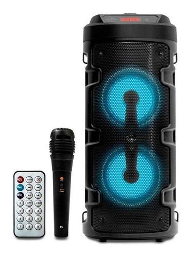 CAIXA GRASEP D-S14 PRETA BT 20W RMS - USB  - C/ MICROFONE, CONTROLE E ALÇA - RÁDIO FM -  DISPLAY LED -