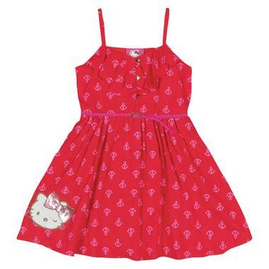 Vestido Hello Kitty com Estampa de Âncora Vermelho - Fashion Kids Outlet fe0724006ee
