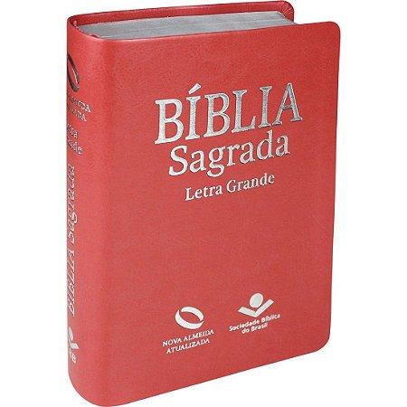 Bíblia Sagrada Letra Grande - Nova Almeida Atualizada - com Índice - Pêssego