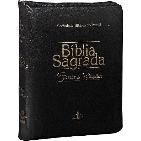 Bíblia Sagrada com Fonte de Bênçãos - RC - Zíper - Preta