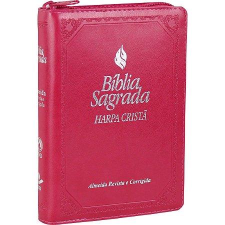 Bíblia Sagrada com Harpa Cristã - Zíper - Pink