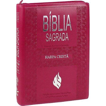 Bíblia Sagrada Letra Extragigante com Harpa Cristã - Pink