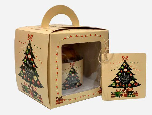 Caixa para Mini Panetone 100g / Árvore de Natal