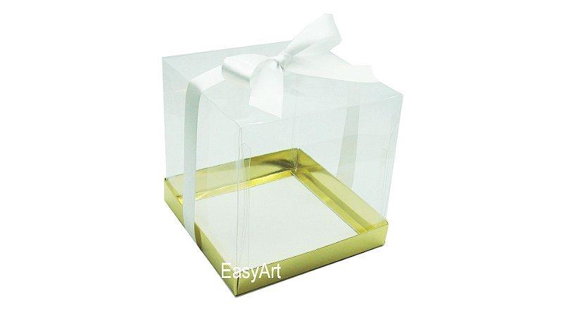Caixinhas para mini Bolos 8x8x8 - Dourado Brilhante