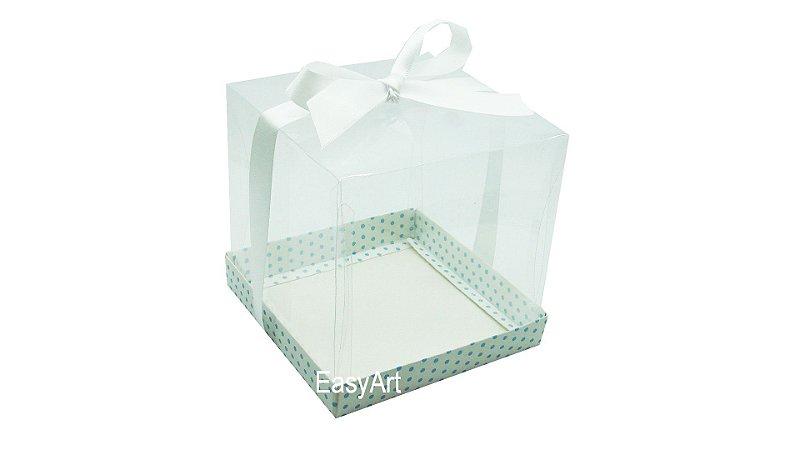 Caixinha para Mini Bolos 6x6x6 - Branco com Poás Azuis