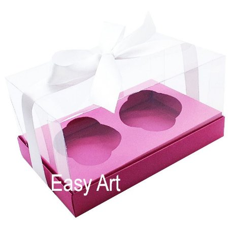 Caixas para Dois Cupcakes / Dois Mini Panetones - Pink