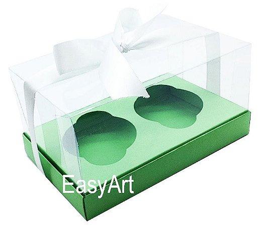 Caixas para 02 Cupcakes - Verde Pistache