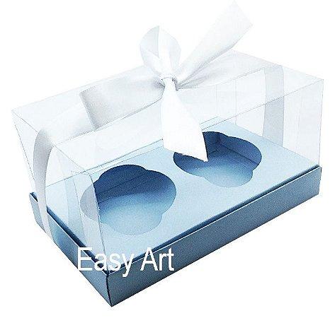 Caixas para 02 Cupcakes - Azul Claro