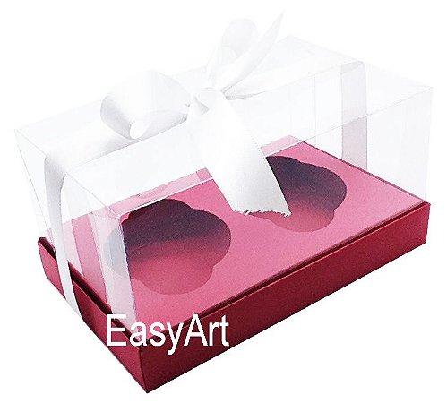 Caixas para 02 Cupcakes - Vermelho