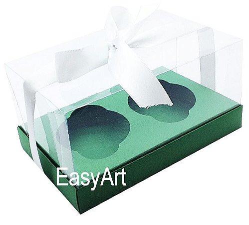 Caixas para 02 Cupcakes - Verde Bandeira
