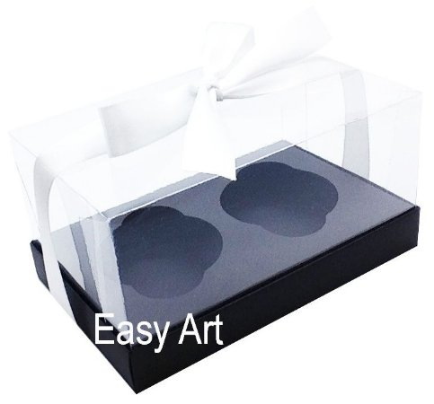 Caixas para 02 Cupcakes - Preto