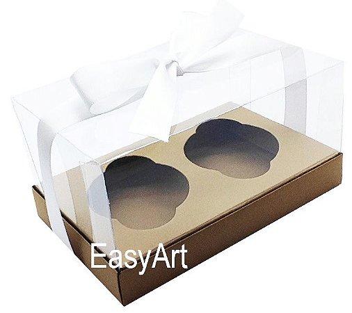 Caixas para 02 Cupcakes - Marrom Claro