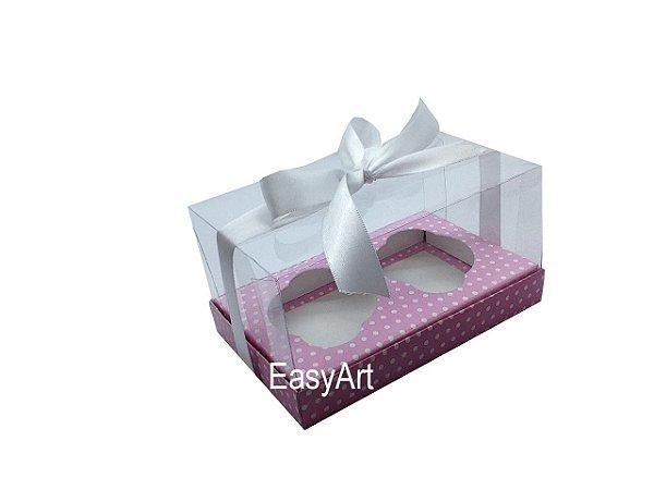 Caixas para Dois Cupcakes - Rosa Poa Branca