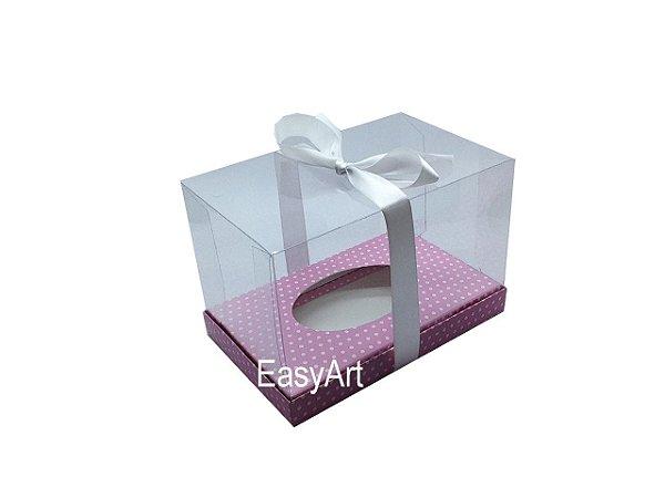 Caixa Ovo de Páscoa Deitado - Rosa Poá Branca