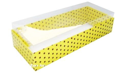 Caixa para 15 Brigadeiros - Amarelo com Poás Marrom
