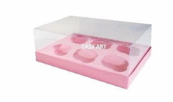 Caixas para 6 Mini Cupcakes - Rosa Claro