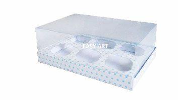 Caixas para 6 Mini Cupcakes - Branco com Poás Azuis