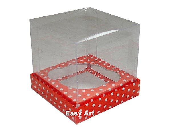 Caixas Especiais para Cupcakes - 11x11x9 / Vermelho com Poás Brancas