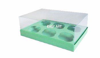 Caixas para 6 Mini Cupcakes - Verde Pistache