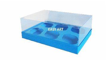 Caixas para 6 Mini Cupcakes - Azul Turquesa