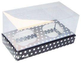Caixas para 2 Mini Cupcakes - Preto com Poás Brancas
