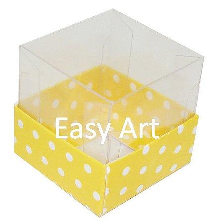 Caixinha para 1 Trufa / Brigadeiro - Amarelo com Poás Brancas