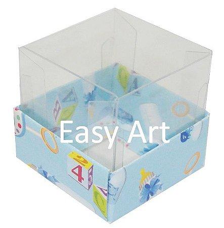 Caixinha para 1 Trufa / Brigadeiro - Estampado Bebê Azul