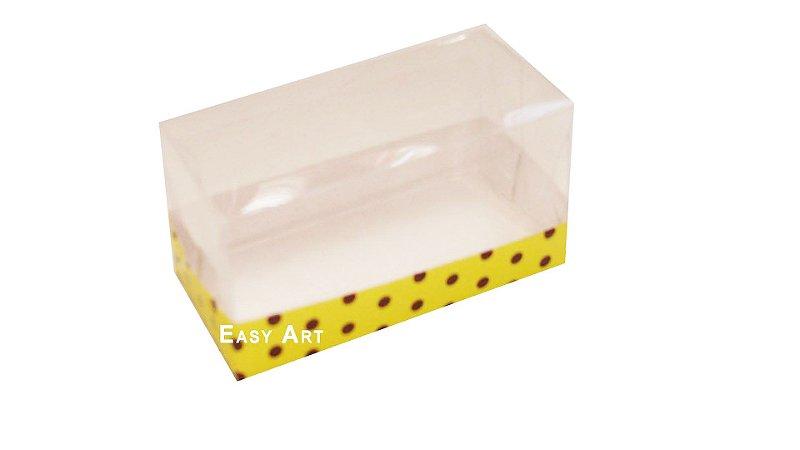 Caixa Para 2 Brigadeiros - Amarelo com Póas Marrom