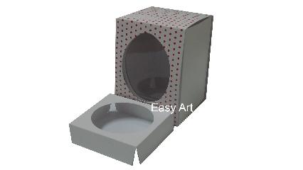 Caixas para Ovos de Páscoa - Branco Poás Vermelhas
