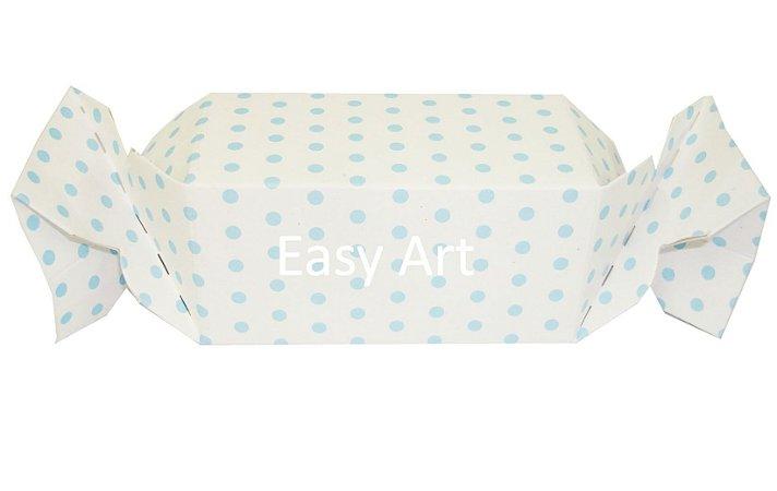 Caixa Bala - Branco com Poás Azuis